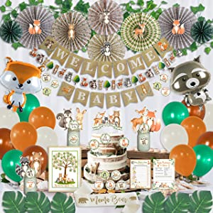 218 Piece Woodland Baby Shower Decorations for Boy & Girl Kit | Gender Neutral Forest Animal Decor | Welcome Baby Pre-Strung Banners Garland Fans Guestbook Sash Balloons Cake Toppers Games Thank You Stickers Creature Cutouts Leaf Ivy Vines