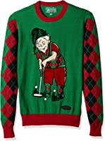 Ugly Christmas Sweater Men's Golfing Elf Sweater