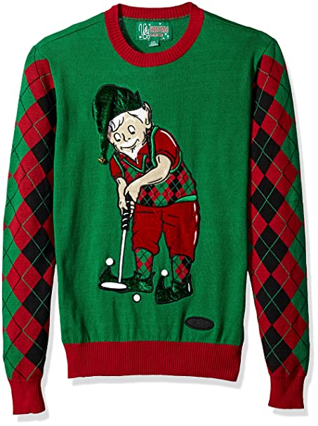 Christmas Sweater Suit.Ugly Christmas Sweater Mens Golfing Elf Sweater Suit Jacket