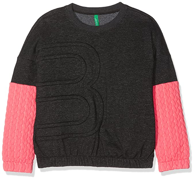 United Colors of Benetton Sweater L/s, Sudadera para Niñas, Grey/Black