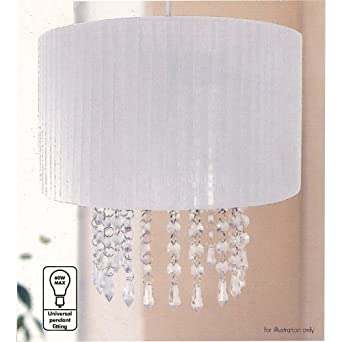 Urbanlife easy fit pendant white lampshade with hanging crystals urbanlife easy fit pendant white lampshade with hanging crystals 30cm amazon lighting mozeypictures Gallery