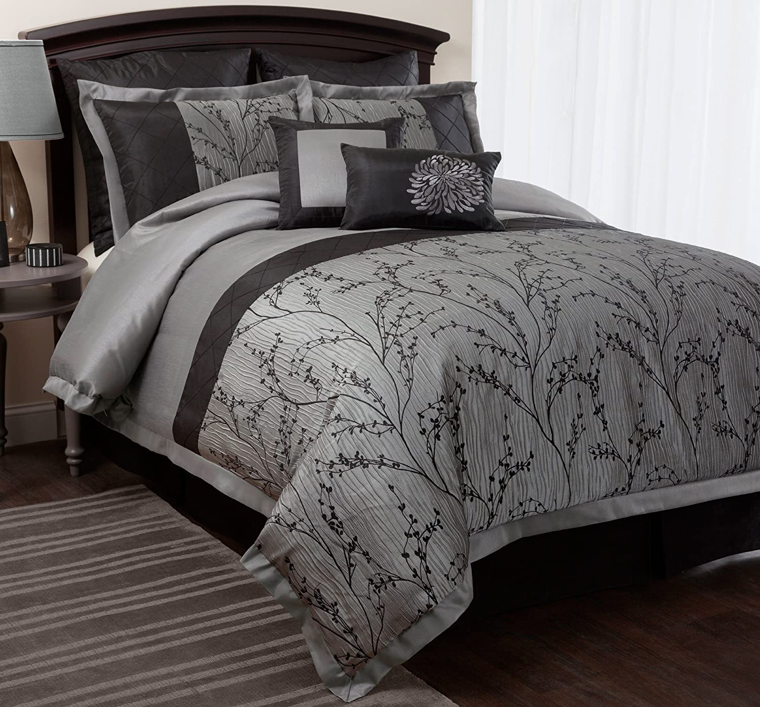 piece king set stewart briercrest silver bed master comforter bedroom pin martha collection bedding