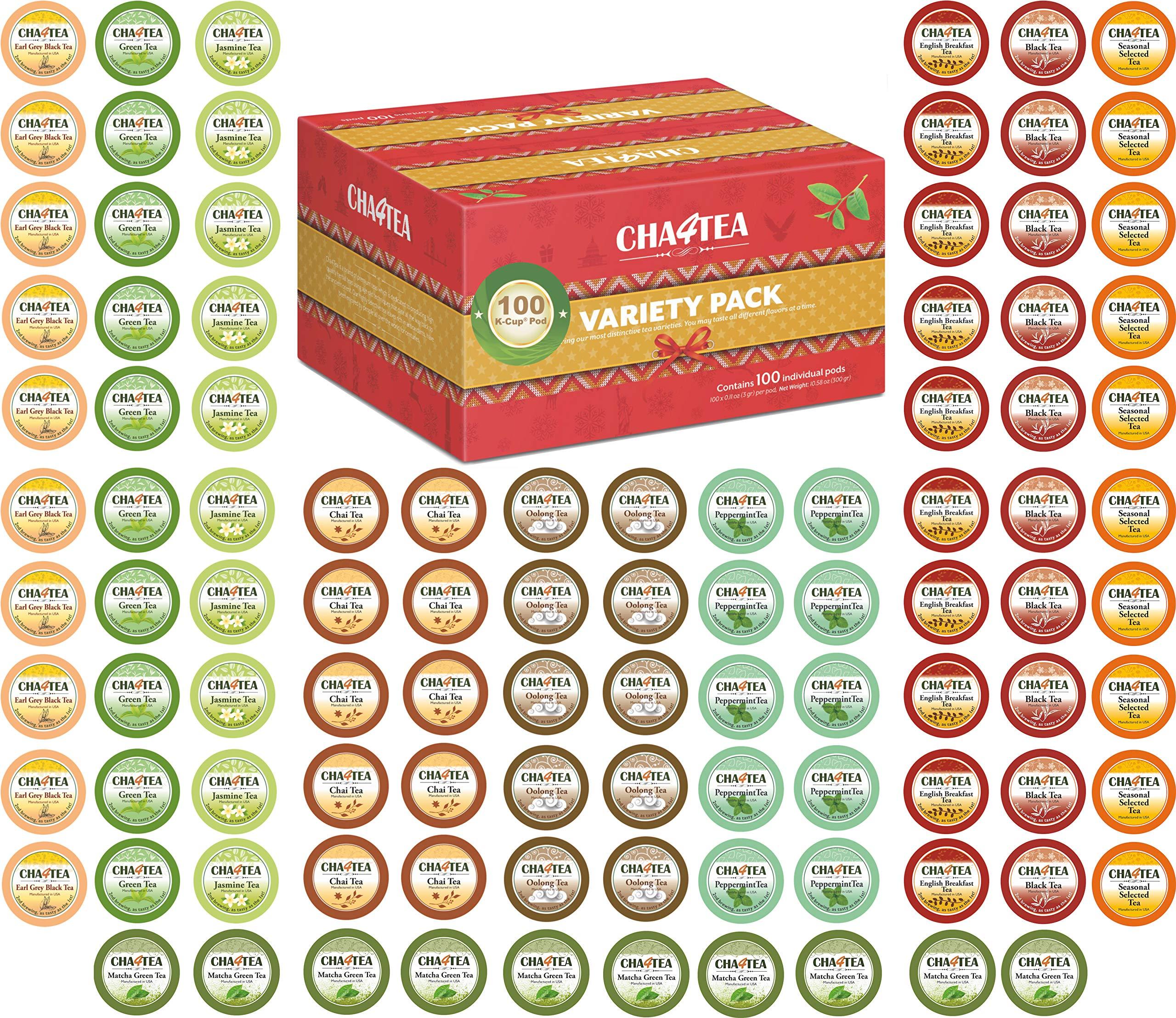 Cha4TEA 100-Count Tea Variety Sampler Pack for Keurig K-Cup Brewers, Multiple Flavors (Green Tea, Black Tea, Jasmine, Earl Grey, English Breakfast, Oolong Green Tea, Peppermint, Chai Tea) by CHA4TEA