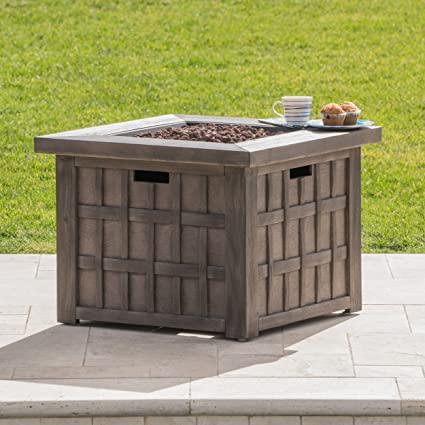 Great Deal Furniture Lillian Outdoor Brown 32 Inch Square Fire Pit   40,000  BTU