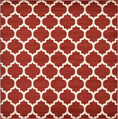 Unique Loom Trellis Collection Moroccan Lattice Red Square Rug 8 0 x 8 0