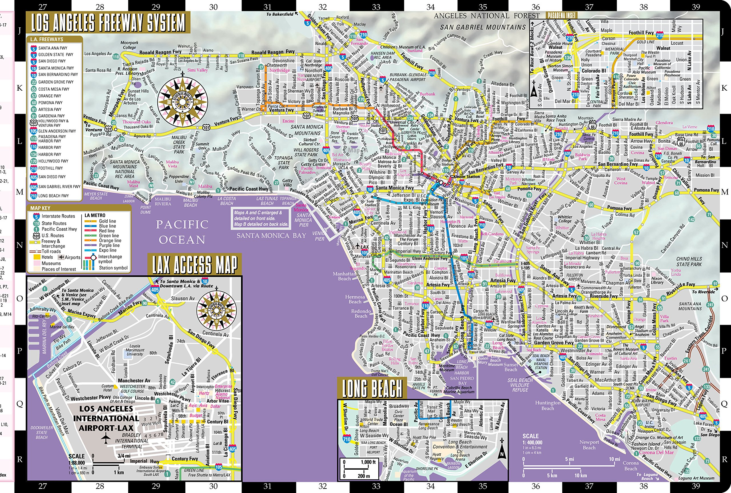 Streetwise Los Angeles Map Laminated City Center Street Map Of - Los angeles map venice beach