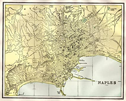 Amazon.com: Original Map of NAPLES Italy 1905 Antique Naples Map Not ...