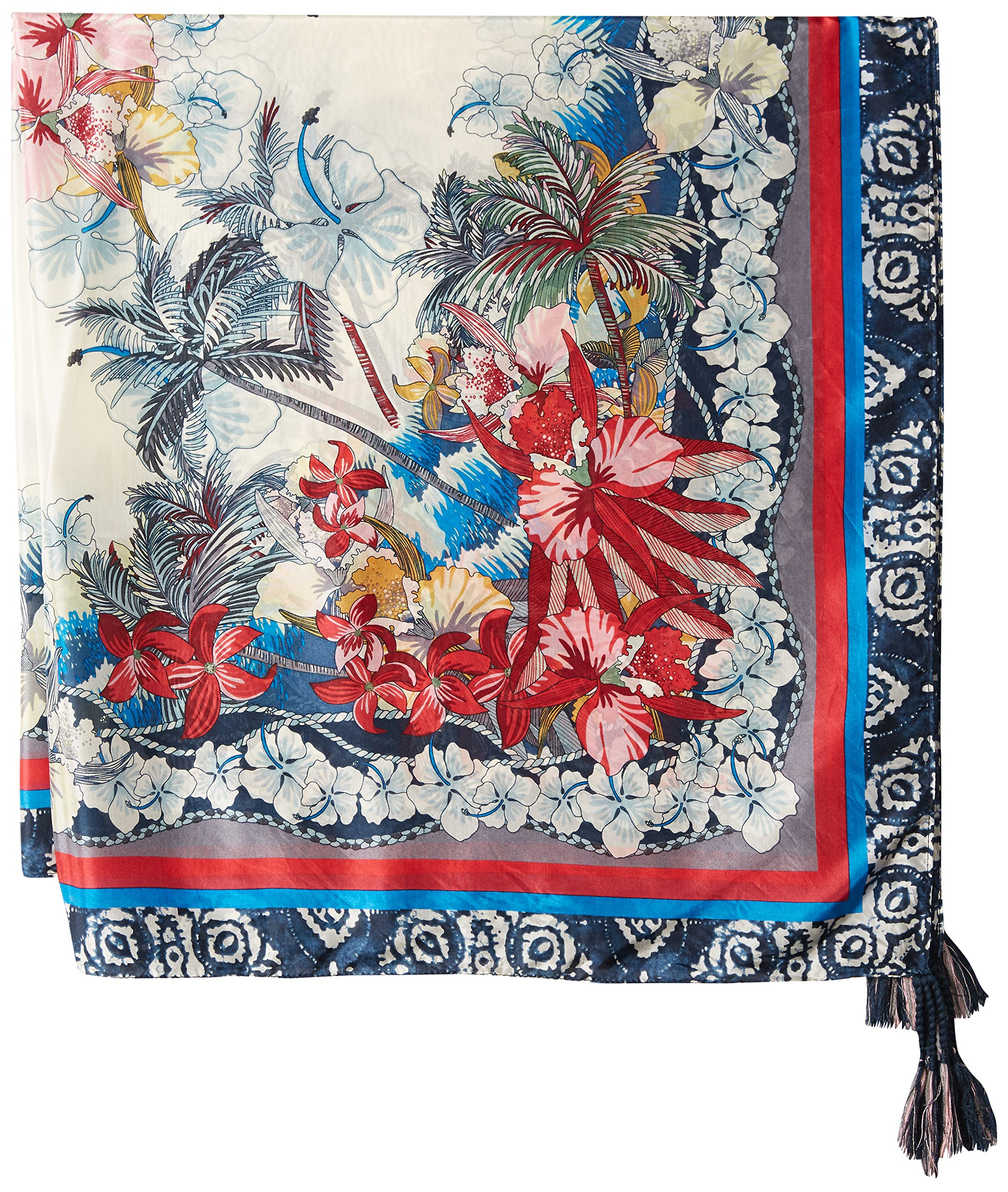 Johnny Was Women's Patterned Silk Square Scarf with Tassels, Vacation Multi O/S by Johnny Was (Image #2)