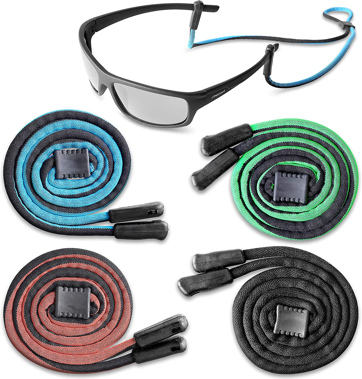 4 Pack Eyeglasses Straps Spectacles Holder Sunglass Chain Glasses Cords Strap with 4 Pair Anti-Slip Rings