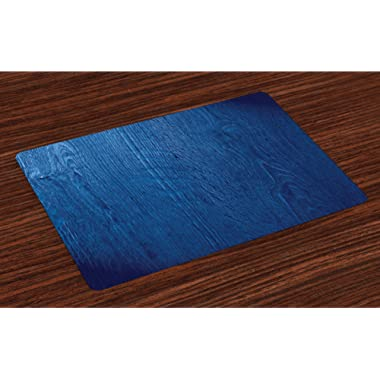 Lunarable Navy Blue Place Mats Set of 4, Photo of Oak Wood Theme Rustic Nature Inspired in Vintage Style Artful Print, Washable Fabric Placemats for Dining Room Kitchen Table Decoration, Royal Blue