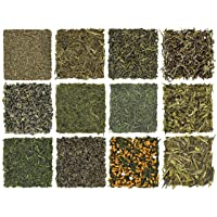 Loose Leaf Green Tea Sampler - Gunpowder Green Tea, Dragonwell, Genmaicha, Sencha, Young Hyson & More. 12 Exotic Teas from Japan & China, Approx. 180+ Cups