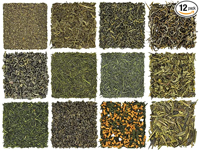 Loose Leaf Green Tea Sampler (12-Tea Variety Set) - Gunpowder Green Tea, Dragonwell, Genmaicha, Sencha, Young Hyson & More. 12 Exotic Teas from Japan & China, Approx. 180+ Cups