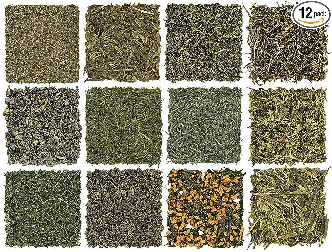 Loose Leaf Green Tea Sampler (12-Tea Variety Set) - Gunpowder Green Tea, Dragonwell, Genmaicha, Sencha, Young Hyson & More. 12 Exotic Teas from Japan & China, Approx. 180+ Cups