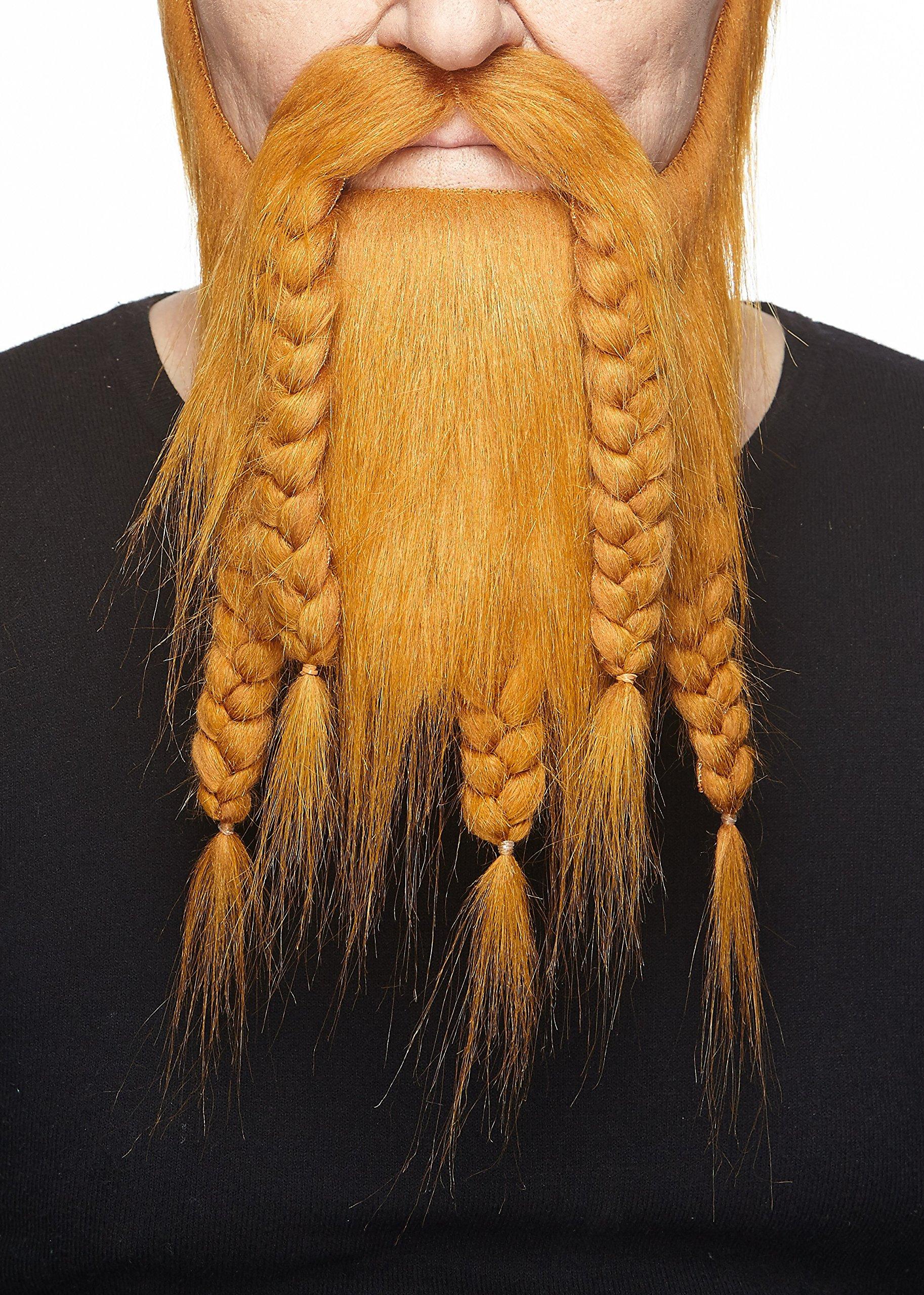 Mustaches Self Adhesive, Novelty, Fake Viking Dwarf Beard, Ginger Color