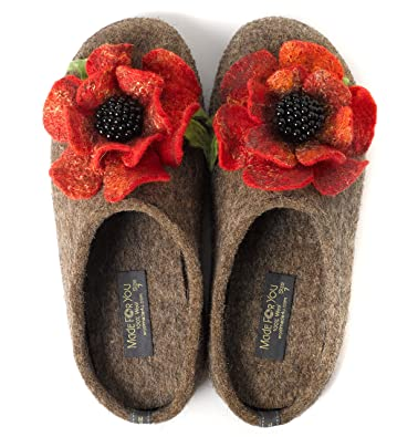 b5f82705f49 Made For You Women s Wool Slippers with Handmade Poppy Flower