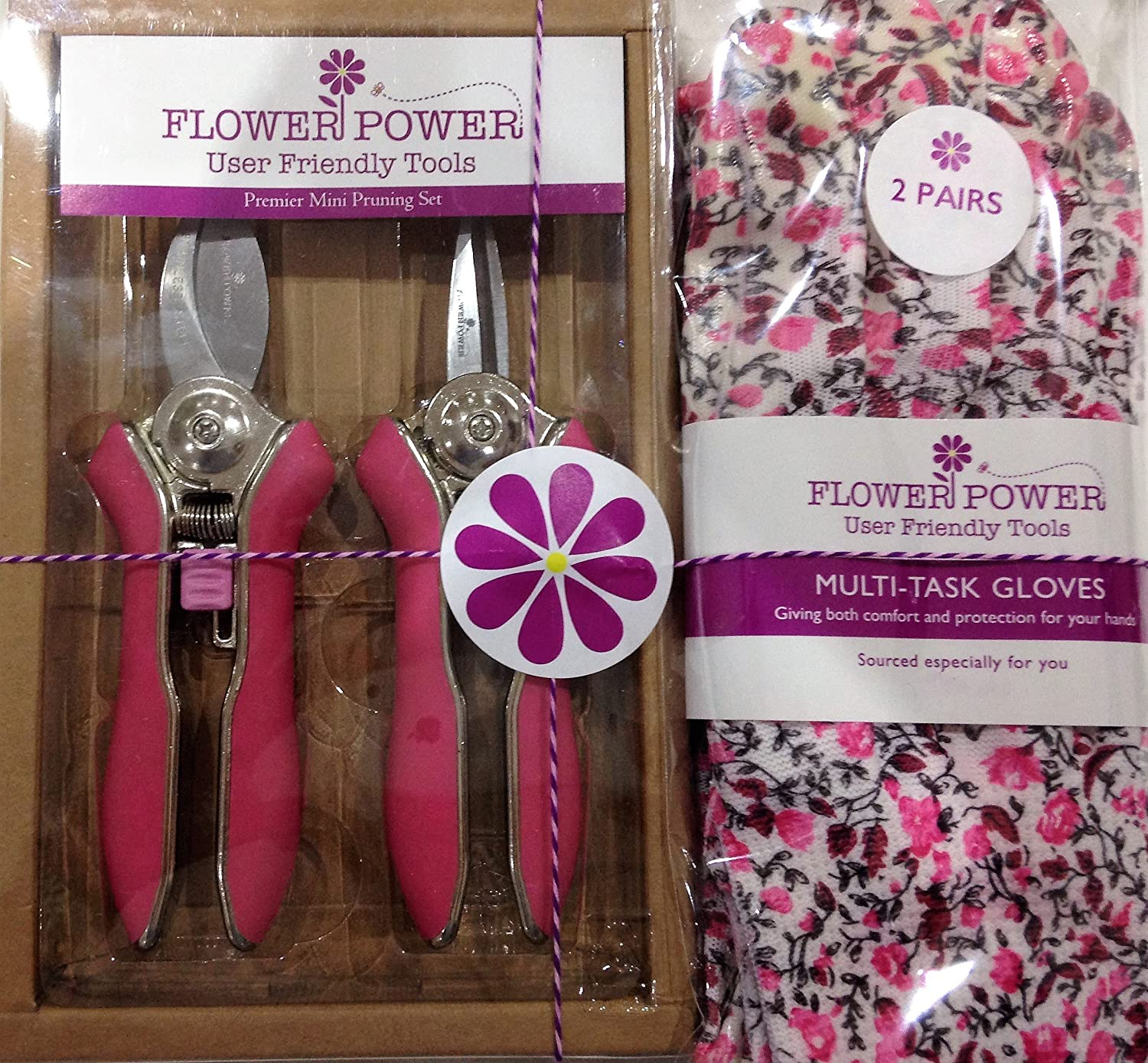 2 Pairs Ladies Gardening Gloves (Candy Pink Floral) and Mini Pruner Garden Secateurs Set. Bypass and Trimmer ladies garden shears with Lightweight gloves suitable for garden and household tasks.The Best Womens Gardening Gift. On Sale Buy NOW! Formosan Uni