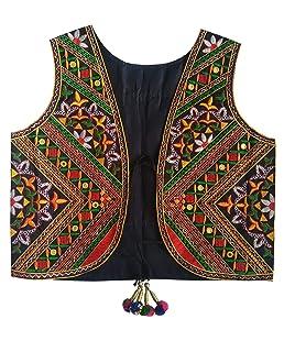 Trendish Women's Cotton Kutchi Multi Colored Embroidery Mirror Work Jacket (Black_Free Size)