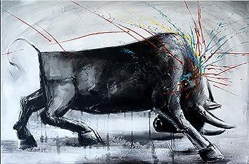 7c33a4d0f89 Abstrait Taureau Taureau Image I – Taureau Peinture – Martin Petit – Bulle  – Acrylique sur