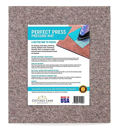 Large Wool Pressing Mat – Quilters Ironing Pad, 16 x 14 Inches - Made in USA - 100% Real Wool, Quilting Supplies, Portable Iron Press Board Tabletop ...