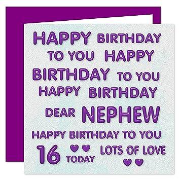 Nephew 16th Happy Birthday Card Happy Birthday To You Dear Nephew