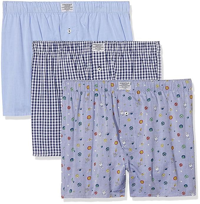 Springfield Pack 3 Boxers Espacio, Bóxer para Hombre, Azul (Blue), Small