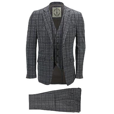 b32f190a75b9 Cavani Herren-Anzug 3-teilig, Tweed, grau-kariert, Vintage-Stil,  Fischgrätenmuster, abgestimmte Passform, Anzugsjacke für die Arbeit   Amazon.de  Bekleidung