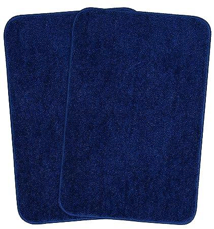 Saral Home Soft Microfiber Anti Skid Bathmats, 40x60cm, Blue - Set of 2
