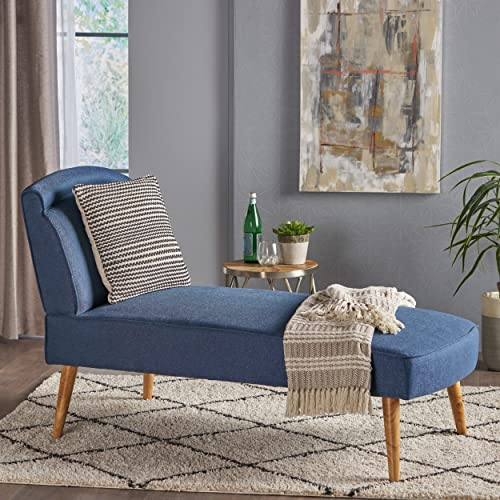Jolie Mid Century Modern Navy Blue Fabric Chaise Lounge