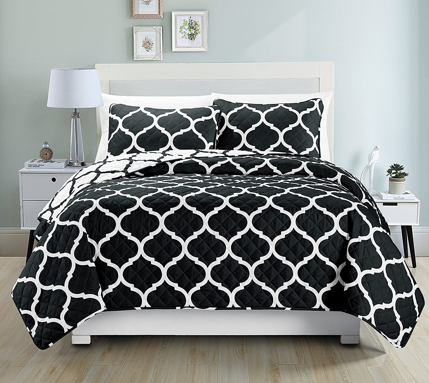 Mk Collection Full/Queen 3pc Bedspread Modern Reversible Black White