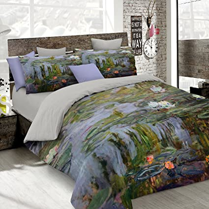 online store cf365 78a37 Italian Bed Linen Parure Copripiumino con Stampa Digitale a Copertura  Totale Sul Sacco e Sulle Federe 2 Posti 100% Cotone, Multicolore (SD05), ...