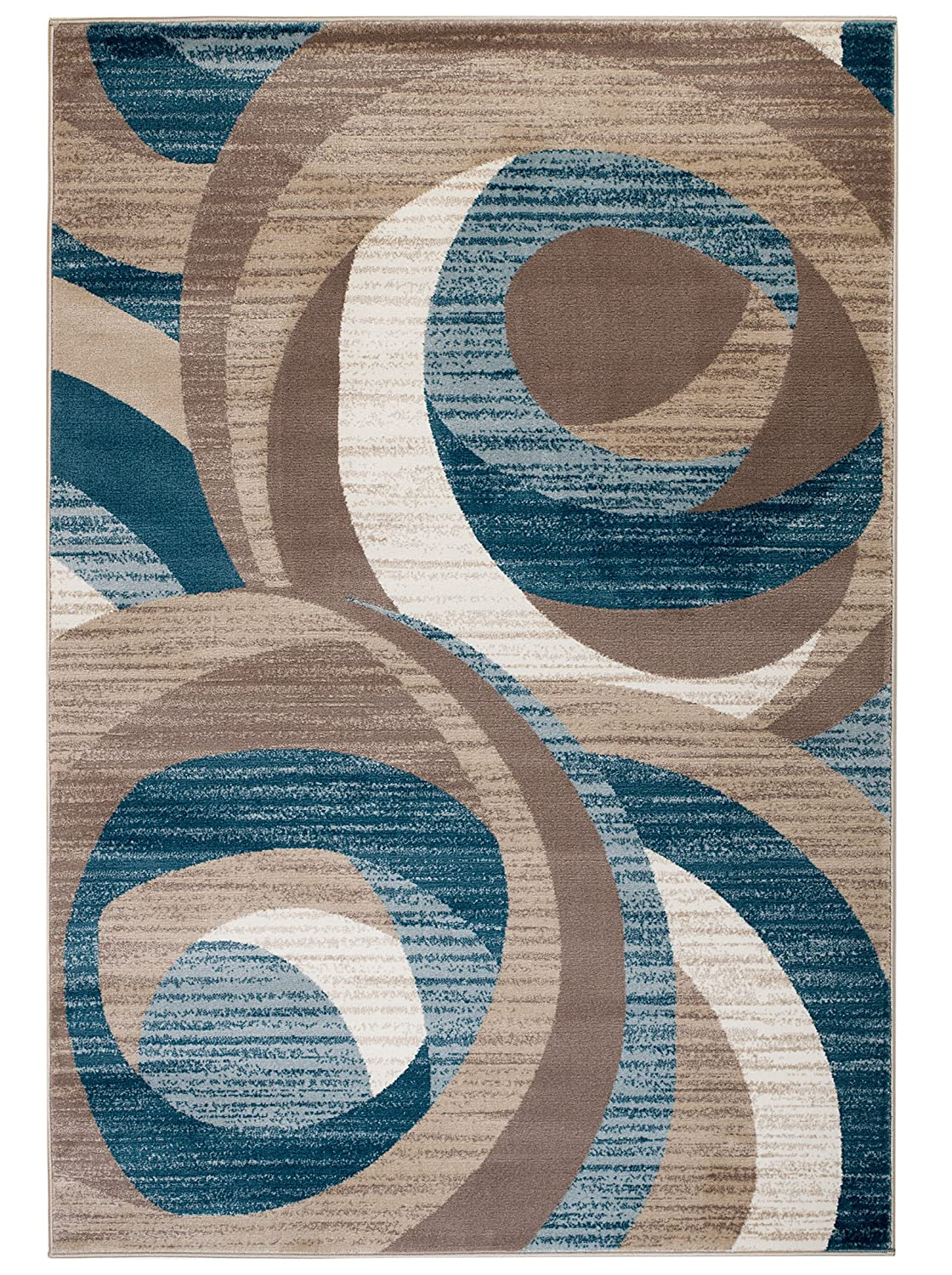 Amazon com new swirl design area rug blue cream beige modern abstract rug 2x3 actual size is 22x36 kitchen dining