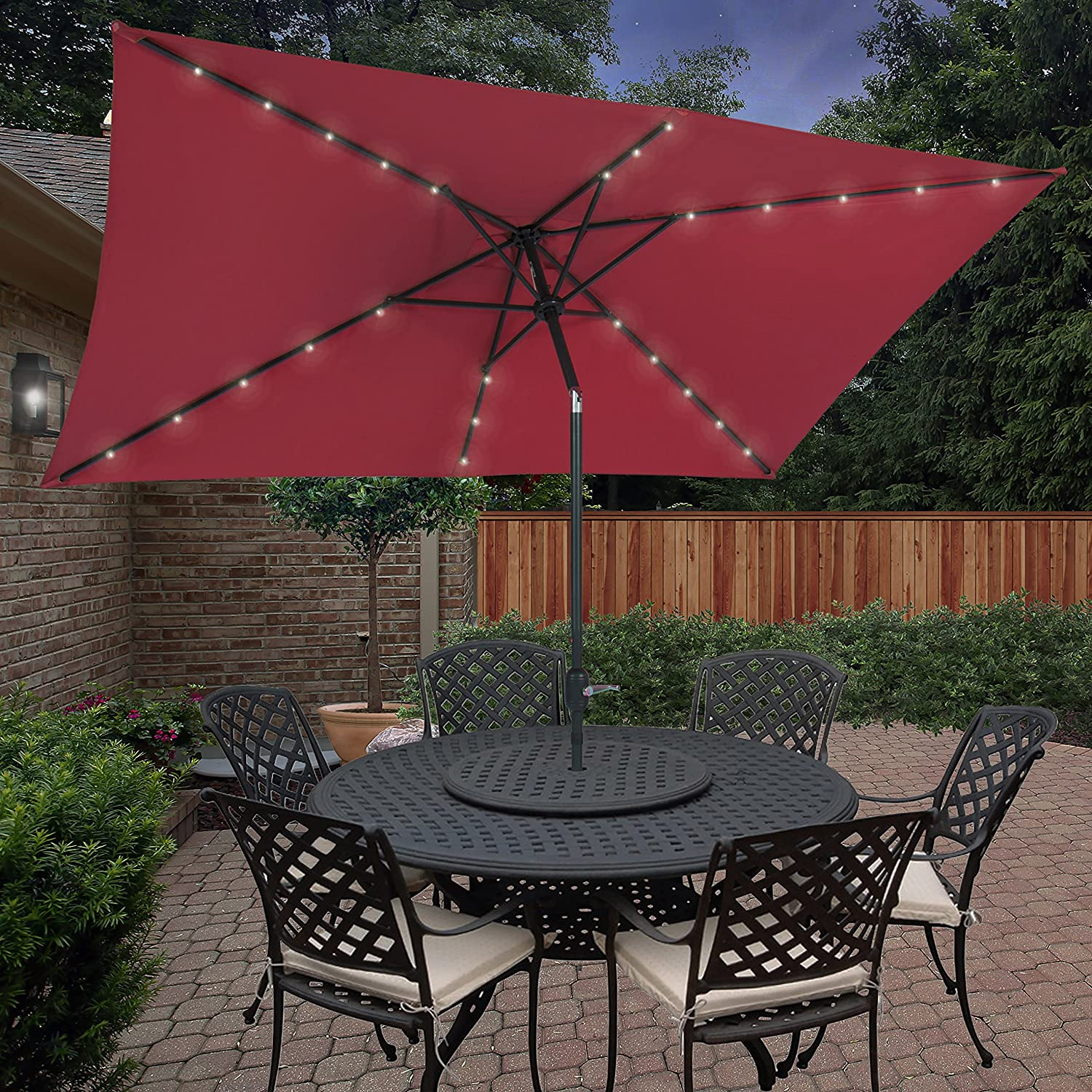 BCP 10u0027x6.2u0027 Deluxe Solar LED Lighted Rectangle Patio Umbrella W Tilt