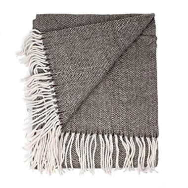 Good Manors Herringbone Chevron Throw Blanket, Lightweight, Woven, Fade Resistant, Cozy, Casual Warm, Soft, Indoor-Outdoor Use, Everyday Use - 50 x 60 - Brown
