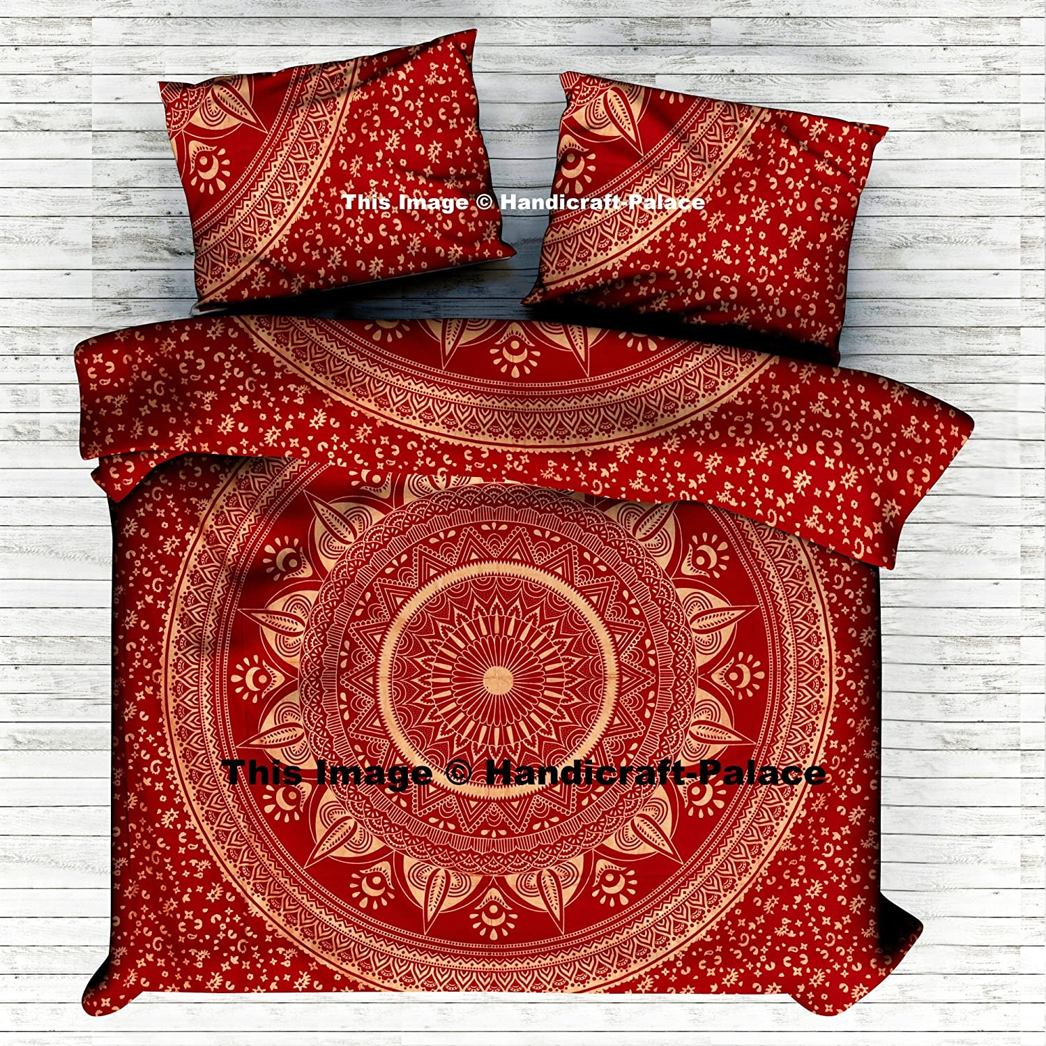 Indian Ombre Mandala Gold Duvet Cover, Queen Size Blanket, Quilt Cover, Indian Bedspread, Bohemian Bedding, Double Bedspread Comforter Cotton Duvet Cover Sold by Handicraftspalace 198