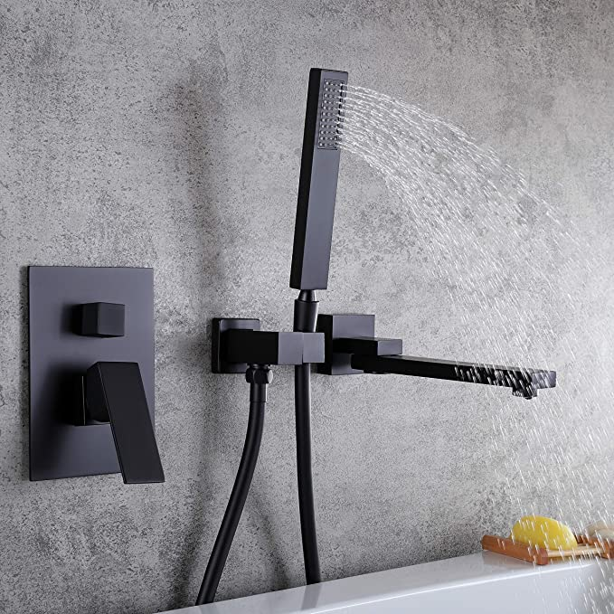 Kunmai moderne robinet mitigeur de baignoire Montage mural Cascade et douchette en chrome//noir