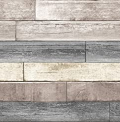 NuWallpaper NU1690 Reclaimed Wood Plank Natural Peel & Stick Wallpaper