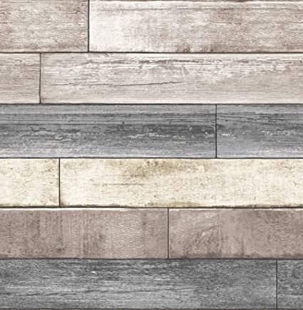 NuWallpaper NU1690 Reclaimed Wood Plank Natural Peel Stick Wallpaper