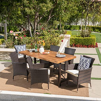 7 piece outdoor dining set small space sernos piece outdoor dining set wood table wicker chairs with cushions amazoncom