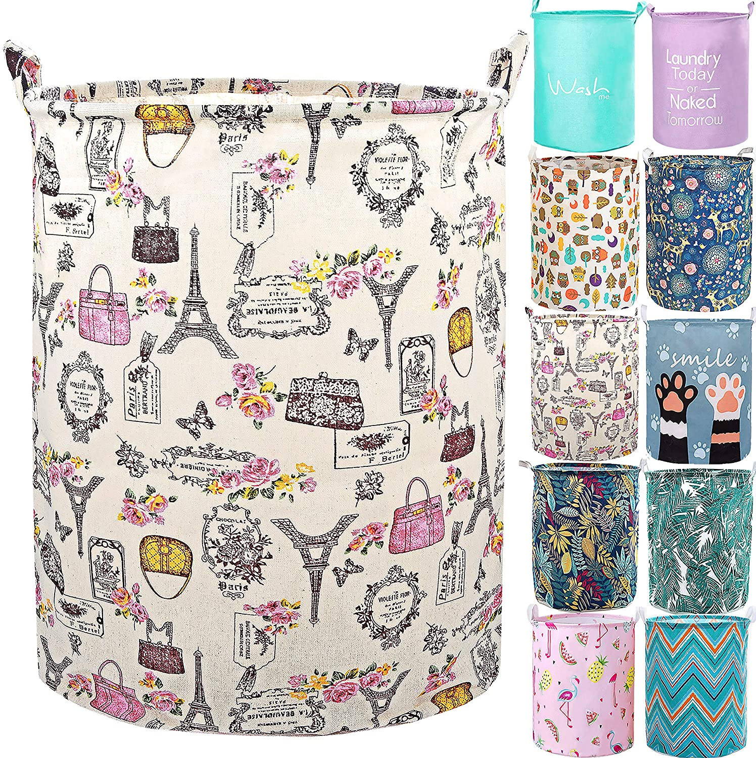 """YOMFUN Foldable Laundry Basket for Girls Laundry Hamper for Kids Room,Vintage Dirty Clothes Laundry Basket 19.7"""" Waterproof Toy Organizer Paris Decor for Bedroom,Adults (Paris,L)"""