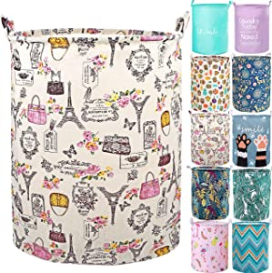 "YOMFUN Foldable Laundry Basket for Girls Laundry Hamper for Kids Room,Vintage Dirty Clothes Laundry Basket 19.7"" Waterproof Toy Organizer Paris Decor for Bedroom,Adults (Paris,L)"
