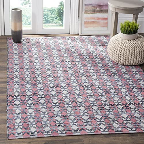 Safavieh Montauk Collection MTK123D Handmade Flatweave Coral and Multi Cotton Area Rug 3 x 5