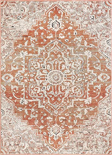 Well Woven Micah Terracotta Red Vintage Medallion Area Rug 8×11 7'10″ x 10'6″