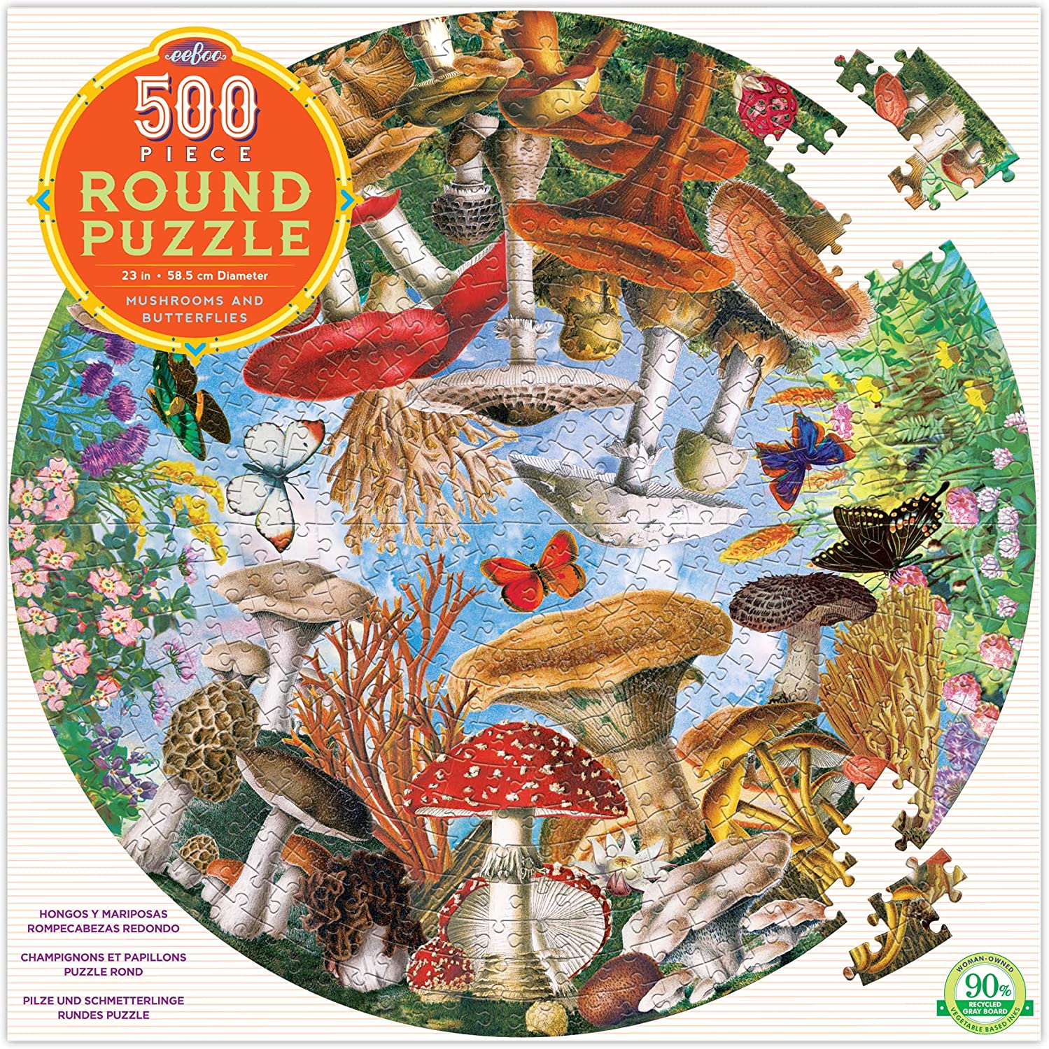 eeBoo Mushrooms and Butterflies Round Jigsaw Puzzle for Adults, 500 Pieces