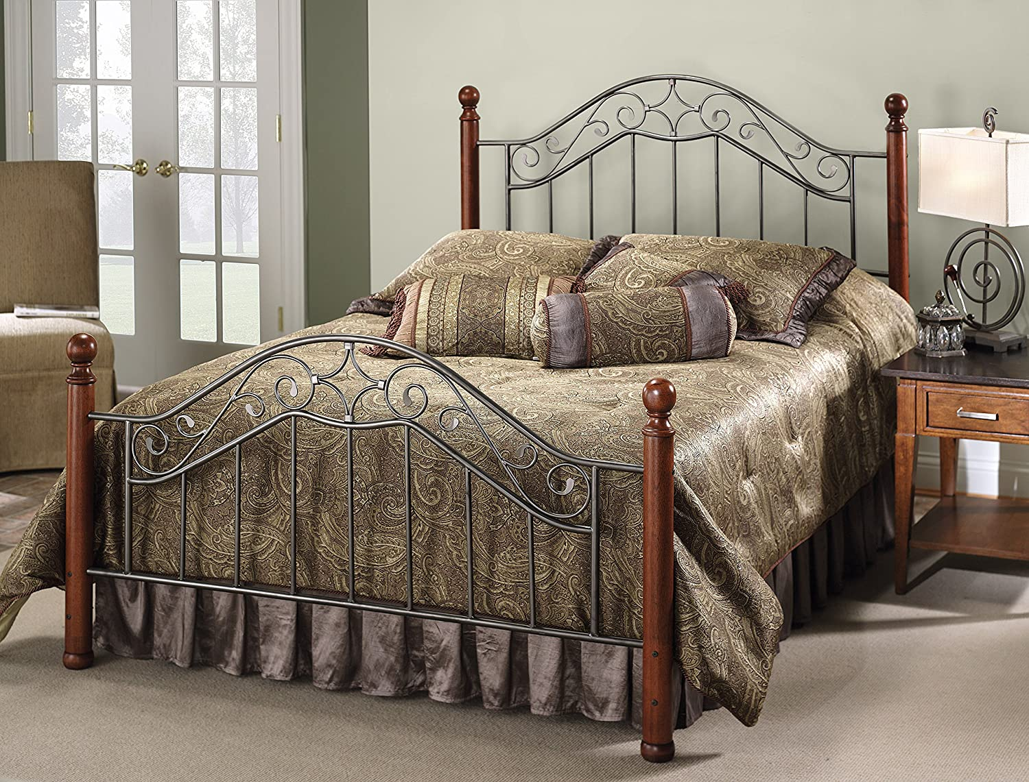 Antique iron bed rails - Amazon Com Hillsdale Furniture 1392bqr Martino Bed Set With Rails Queen Smoke Silver Kitchen Dining