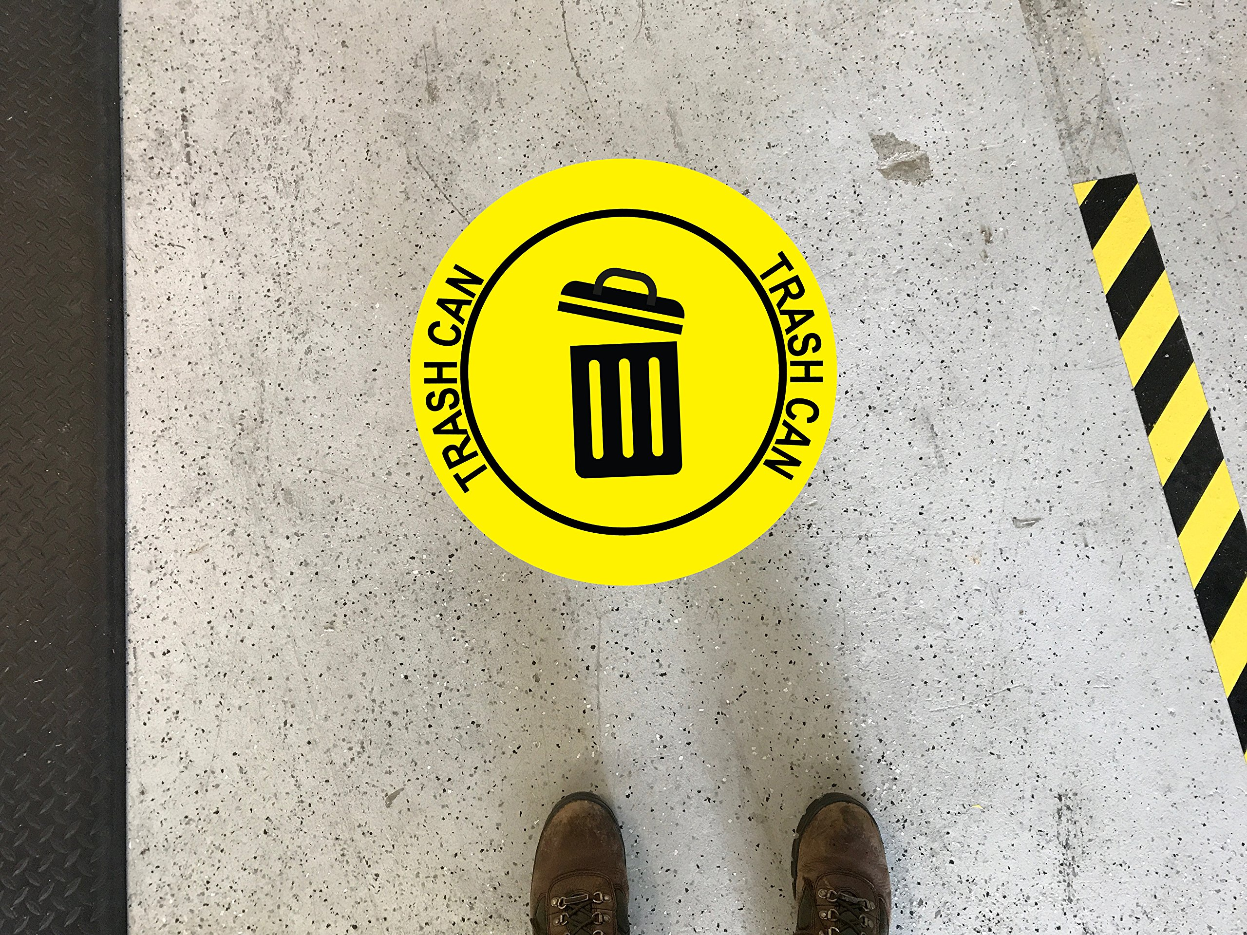 Graphical Warehouse Trash Can Floor Sign-12''