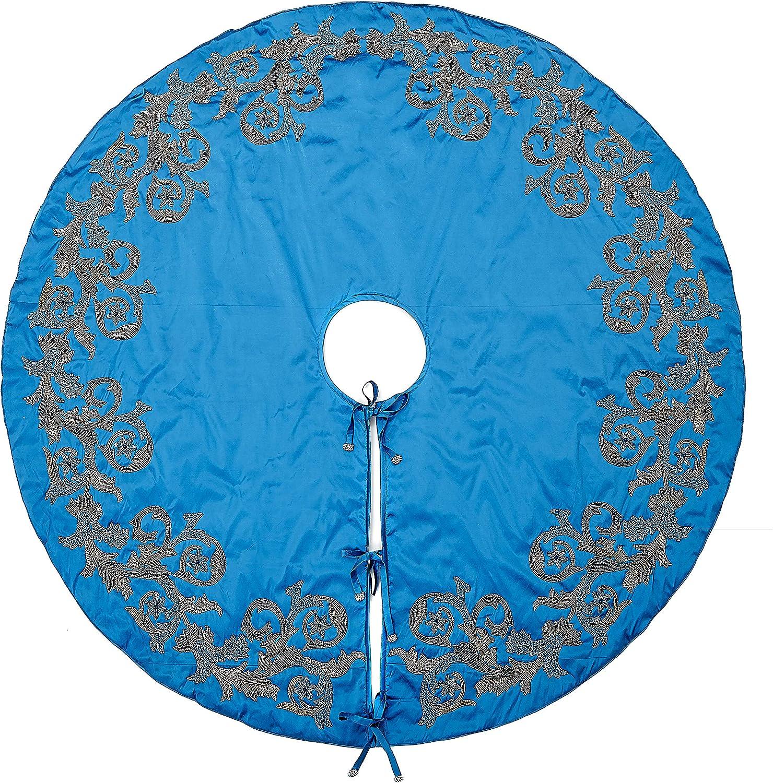 Imperial Blue Hand Beaded Christmas Tree Skirt on Blue Silk- Large - 72