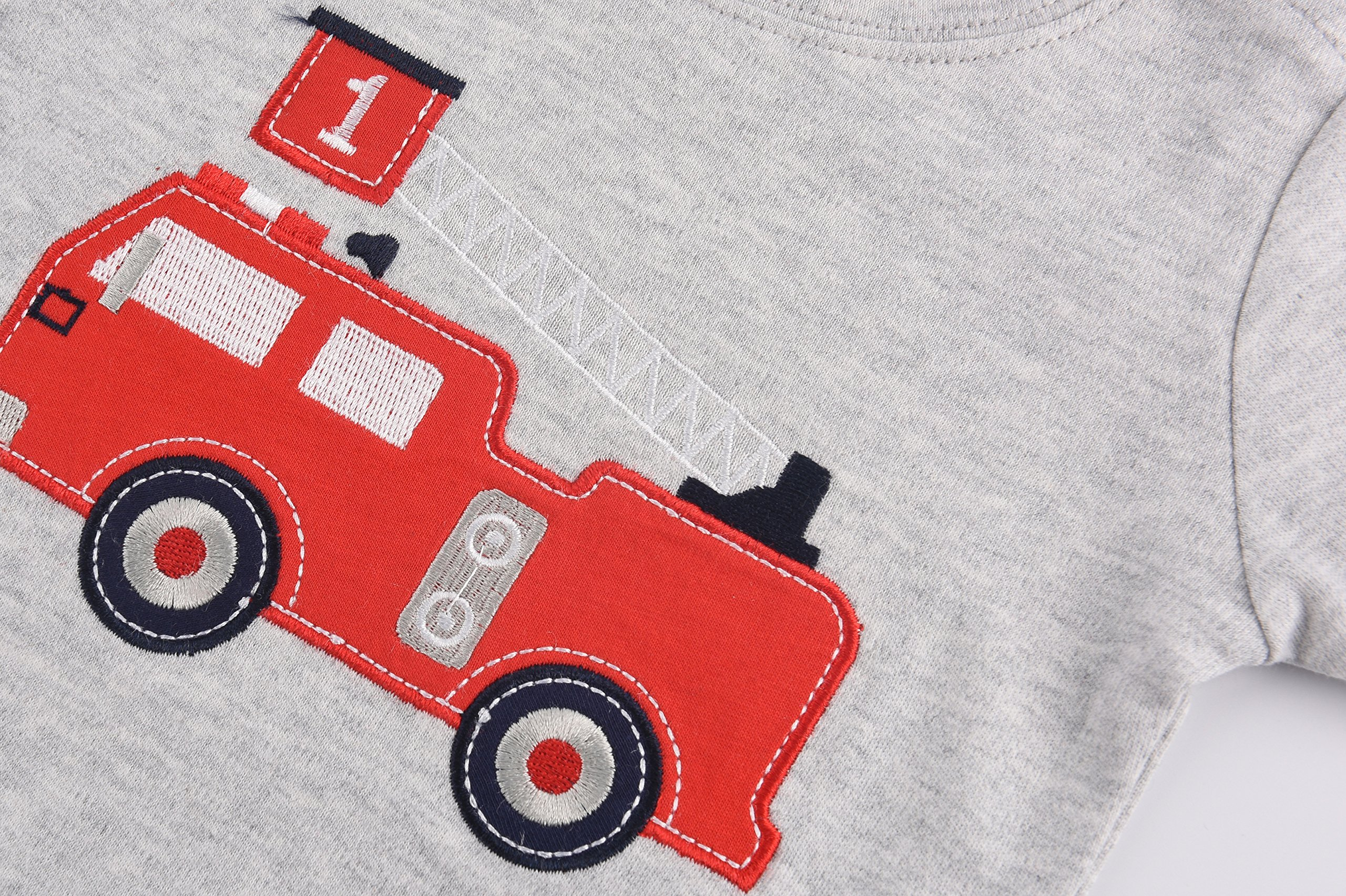 Dhasiue Newborn Baby Short Sleeve Romper Infant Summer Clothing Firetruck Creeper