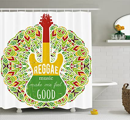 Ambesonne Rasta Shower Curtain, Reggae Music Makes Me Feel Good Quote  Jamaican Island Culture Iconic
