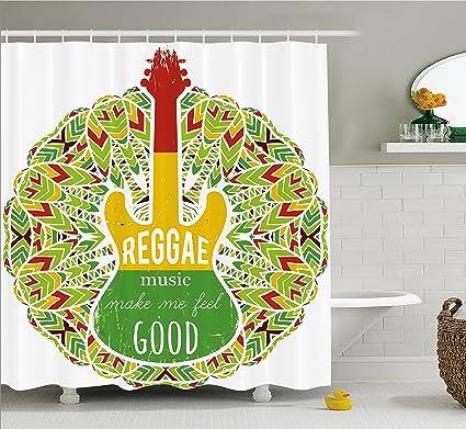 Ambesonne Rasta Shower Curtain, Reggae Music Makes Me Feel Good Quote  Jamaican Island Culture Iconic