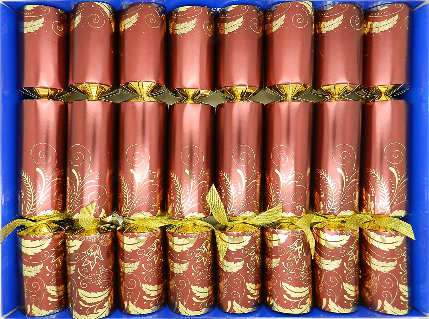 Crackers Fill Your Own Christmas Crackers - Claret with Gold Swirls and organza ribbon Crackers Ltd
